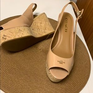 """COACH """"NEW YORK""""NUDE WEDGE SHOES"""